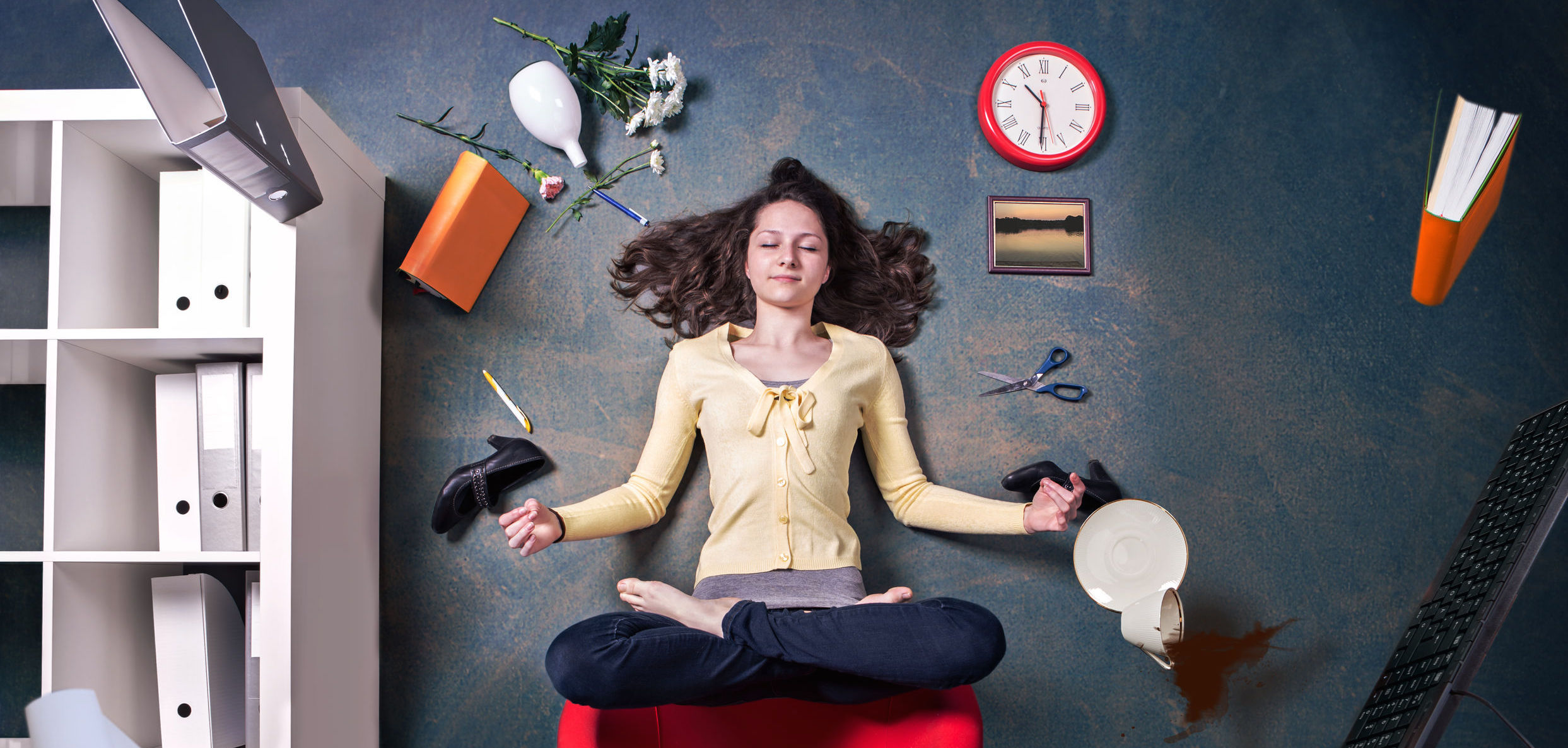 Woman practicing mindful meditation in chaotic environment